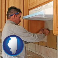 illinois map icon and a kitchen remodeling project