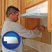 nebraska map icon and a kitchen remodeling project