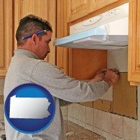 pennsylvania map icon and a kitchen remodeling project
